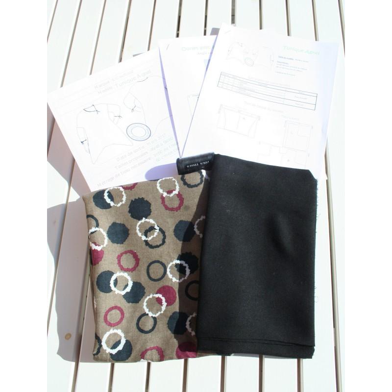 Kit avec tissus et patron grande taille tunique Agnel